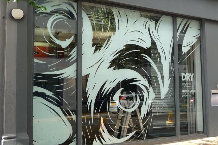 Revers cut vinyl window graphic