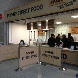 Direct printed hessian cafe barriers and fascia